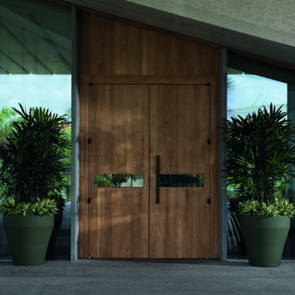 Commercial Entryway with Rim Olive Green Planters