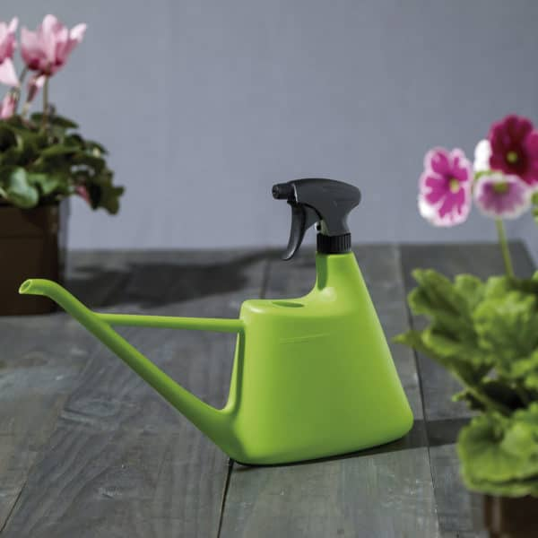energy 2-in-1 watering can and sprayer with potted flowers